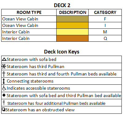 Legend Of The Seas Deck 2 plan keys