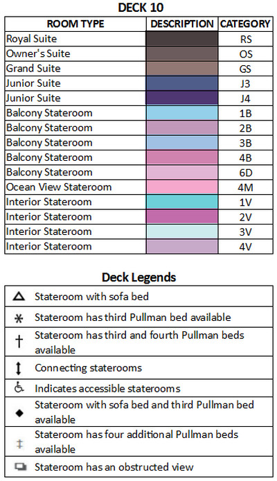 Liberty Of The Seas Deck 10 plan keys