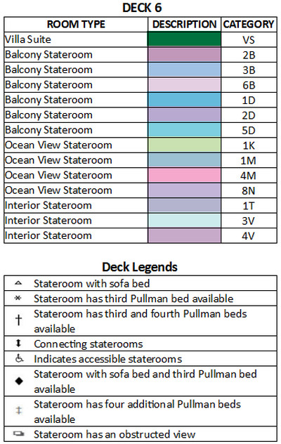 Liberty Of The Seas Deck 6 plan keys