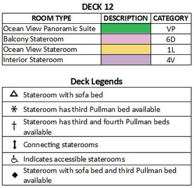 Liberty Of The Seas Deck 12 plan keys