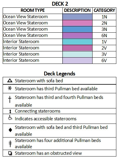 Majesty Of The Seas Deck 2 plan keys