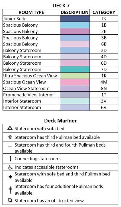 Mariner Of The Seas Deck 7 plan keys