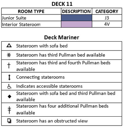 Mariner Of The Seas Deck 11 plan keys