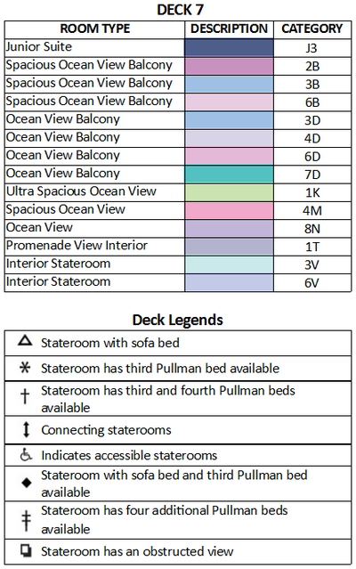 Navigator Of The Seas Deck 7 plan keys