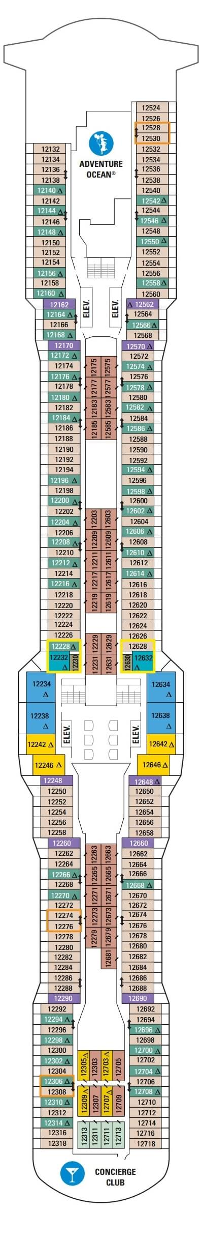 Ovation of the Seas Deck 12 layout