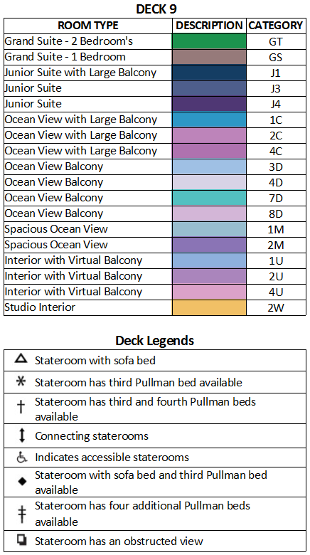 Ovation of the Seas Deck 9 plan keys