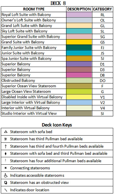 Ovation of the Seas Deck 8 plan keys