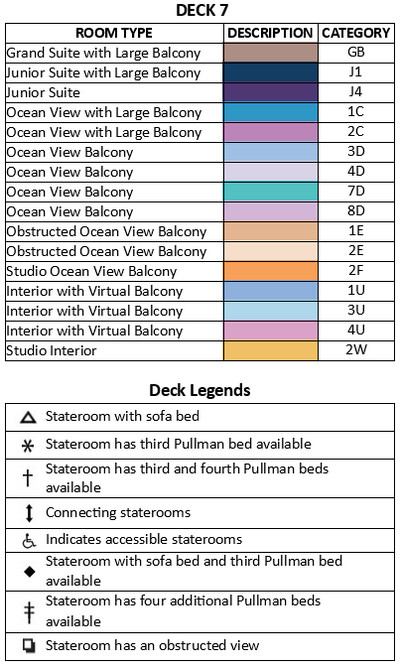 Ovation of the Seas Deck 7 plan keys