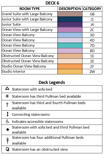 Ovation of the Seas Deck 6 plan keys