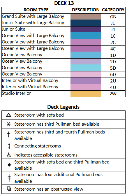Ovation of the Seas Deck 13 plan keys