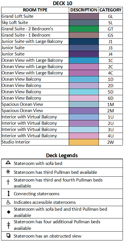 Ovation of the Seas Deck 10 plan keys