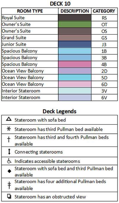Radiance Of The Seas Deck 10 plan keys