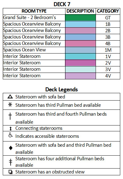 Rhapsody Of The Seas Deck 7 plan keys