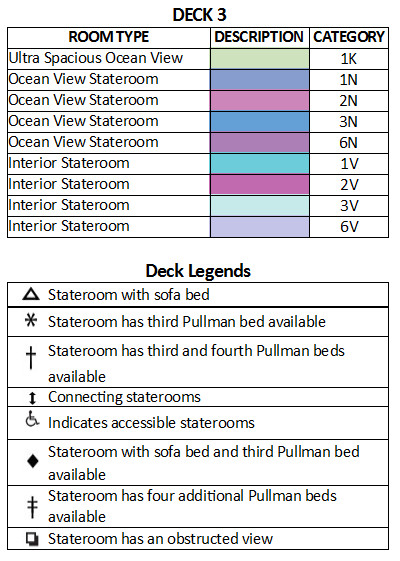 Rhapsody Of The Seas Deck 3 plan keys