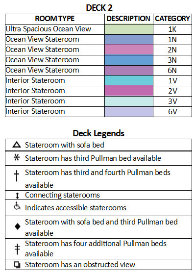 Rhapsody Of The Seas Deck 2 plan keys