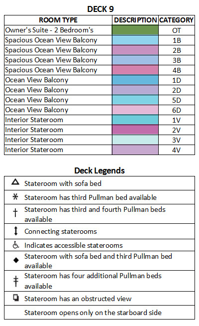 Serenade Of The Seas Deck 9 plan keys