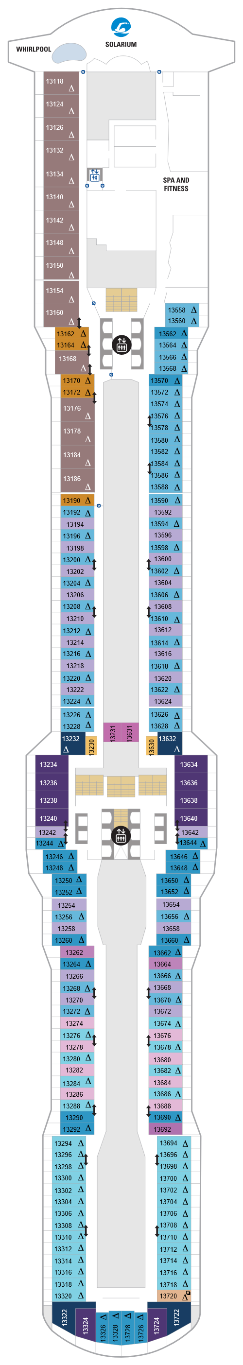 Spectrum Of The Seas Deck 13 layout