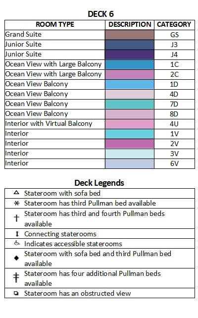 Symphony Of The Seas Deck 6 plan keys
