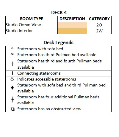 Symphony Of The Seas Deck 4 plan keys