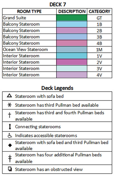 Vision Of The Seas Deck 7 plan keys