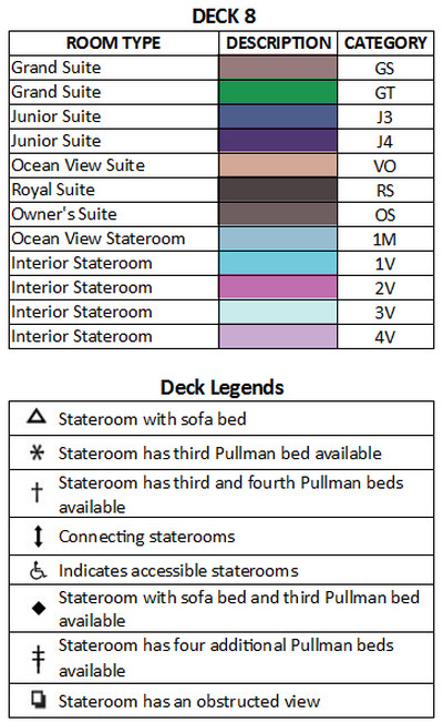 Vision Of The Seas Deck 8 plan keys