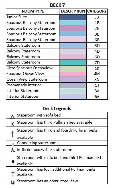 Voyager Of The Seas Deck 7 plan keys