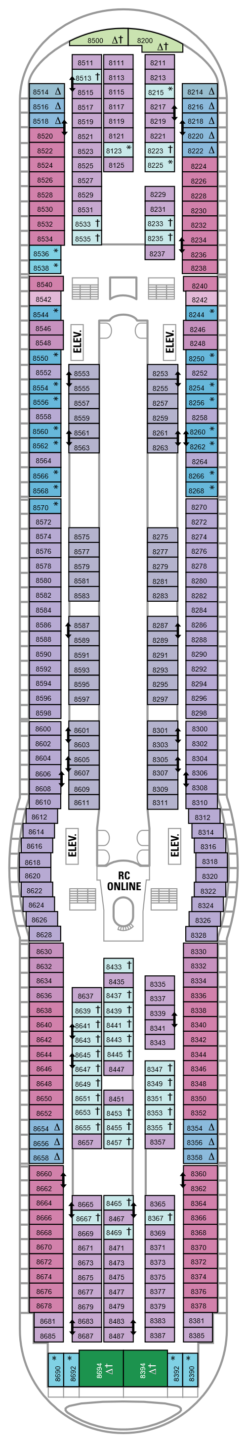 Voyager Of The Seas Deck 8 layout