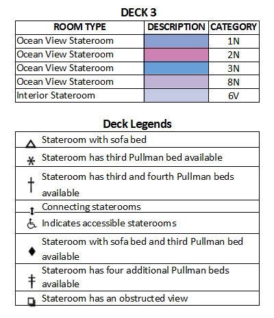 Voyager Of The Seas Deck 3 plan keys