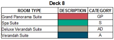 Scenic Eclipse Deck 8 plan keys