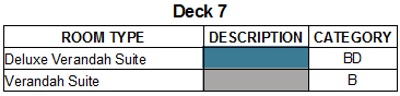 Scenic Eclipse Deck 7 plan keys