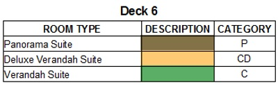 Scenic Eclipse Deck 6 plan keys