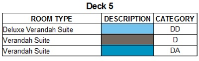 Scenic Eclipse Deck 5 plan keys