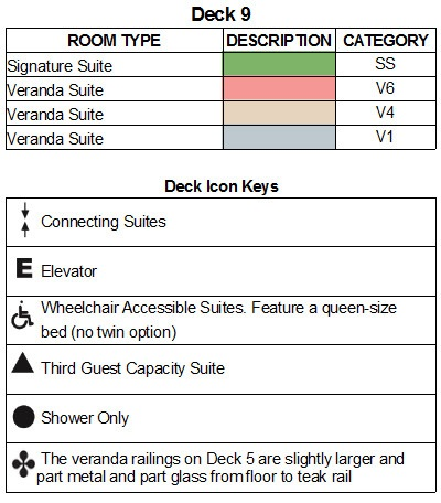 Seabourn Encore Deck 9 plan keys