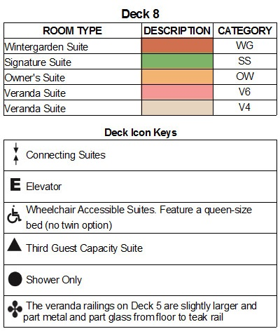 Seabourn Encore Deck 8 plan keys