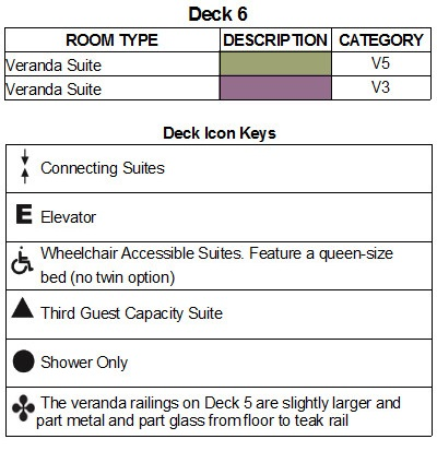 Seabourn Encore Deck 6 plan keys