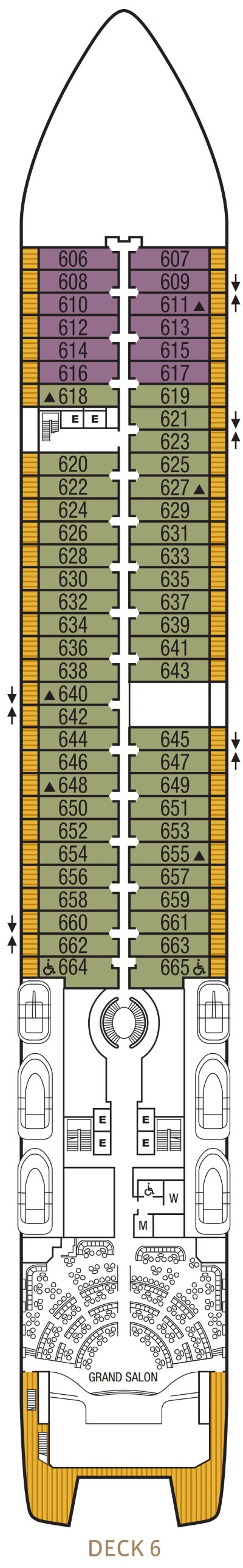 Seabourn Encore Deck 6 layout
