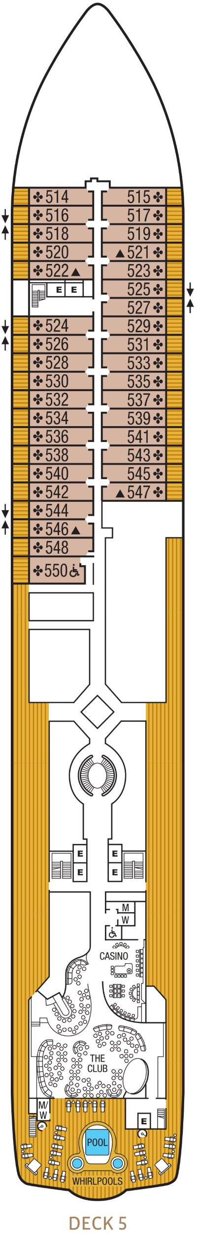 Seabourn Encore Deck 5 layout