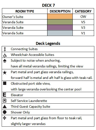 Seabourn Ovation Deck 7 plan keys
