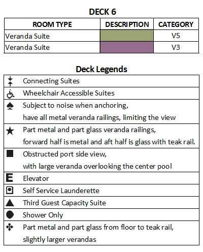 Seabourn Ovation Deck 6 plan keys