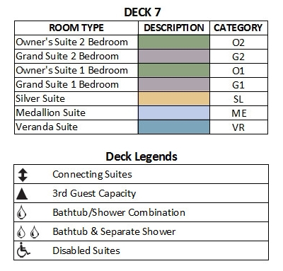 Silver Cloud Expedition Deck 7 plan keys