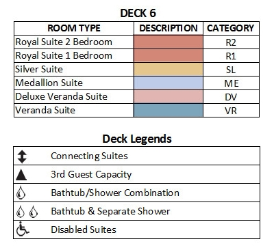 Silver Cloud Expedition Deck 6 plan keys