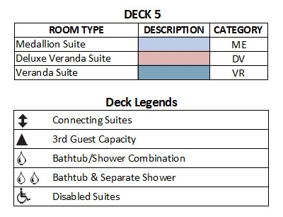Silver Cloud Expedition Deck 5 plan keys