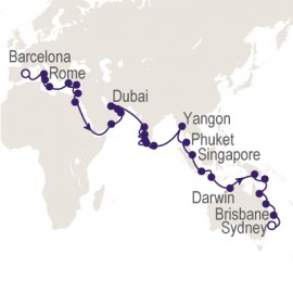 Barcelona to Sydney World Sector Cruise