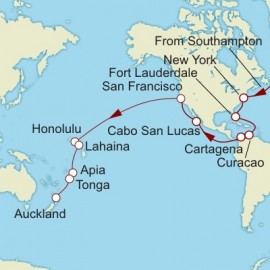 Southampton to Auckland World Sector Cunard Cruise
