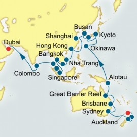 World Cruise Auckland to Dubai Sector Cruise