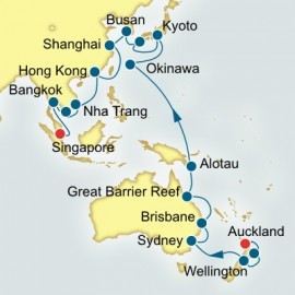 Auckland to Singapore World Sector P&O Cruises UK Cruise