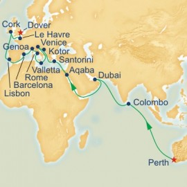 Fremantle to Dover World Sector Itinerary