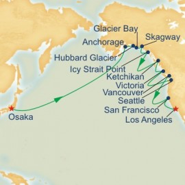 Circle Pacific Osaka to Los Angeles Itinerary