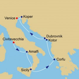 Amalfi and Dalmatian Coasts Voyage Itinerary