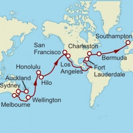 Auckland to Southampton World Sector Itinerary